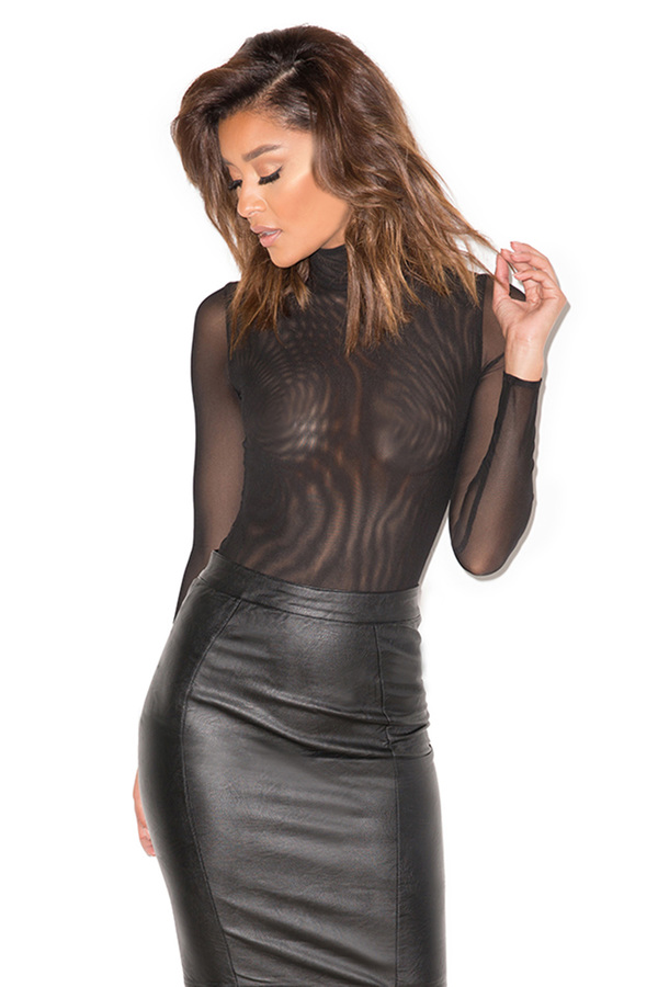 Moulin Black Sheer Mesh Bodysuit