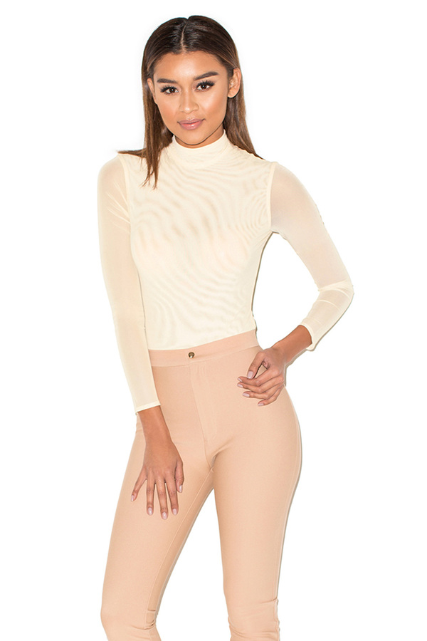 Moulin Nude Semi-sheer Mesh Bodysuit