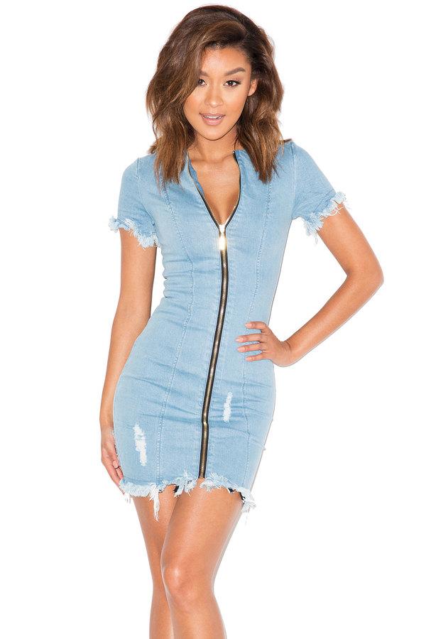 Over It Frayed Denim Mini Dress