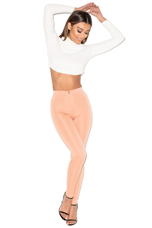 Right Now Peach Neoprene Jersey Leggings