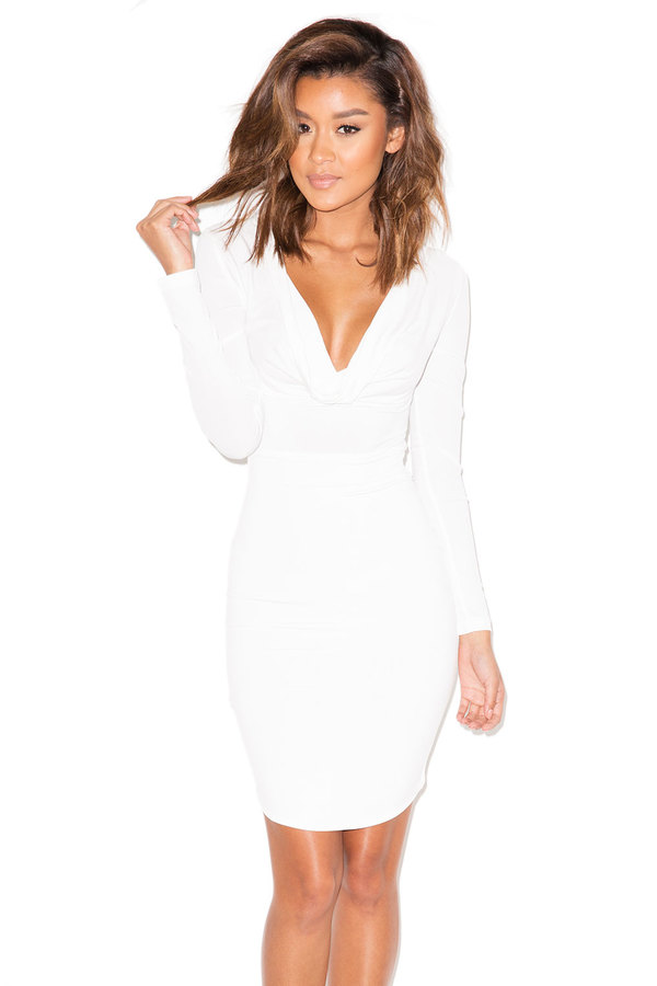 Tease White Draped Long Sleeved Dress