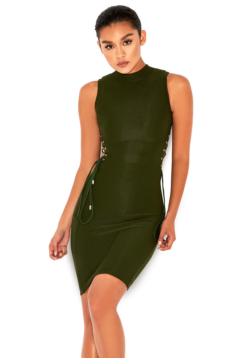 Narcissist Khaki Side-Boob Lace Up Dress