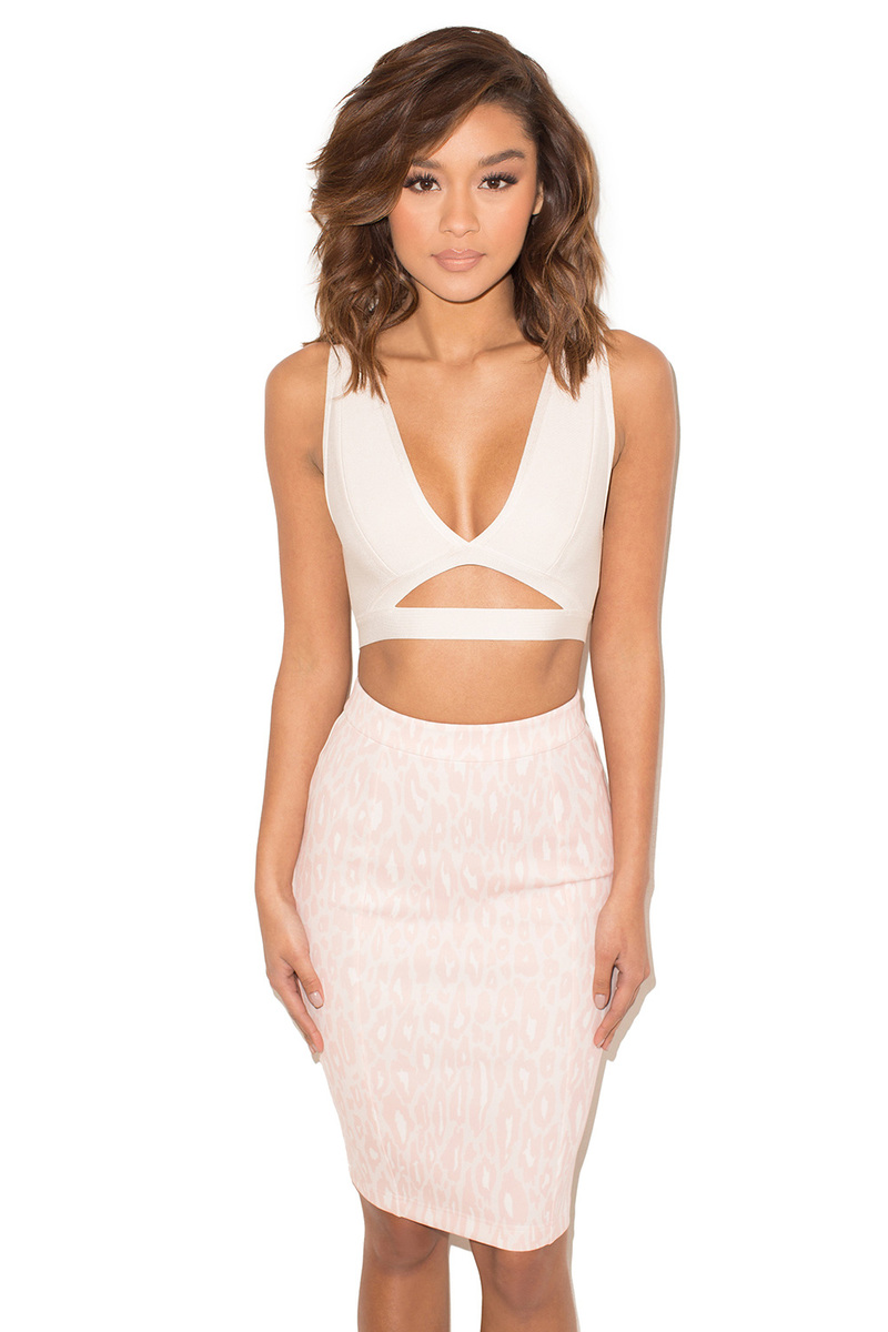 Amour Blush Print Neoprene Pencil Skirt