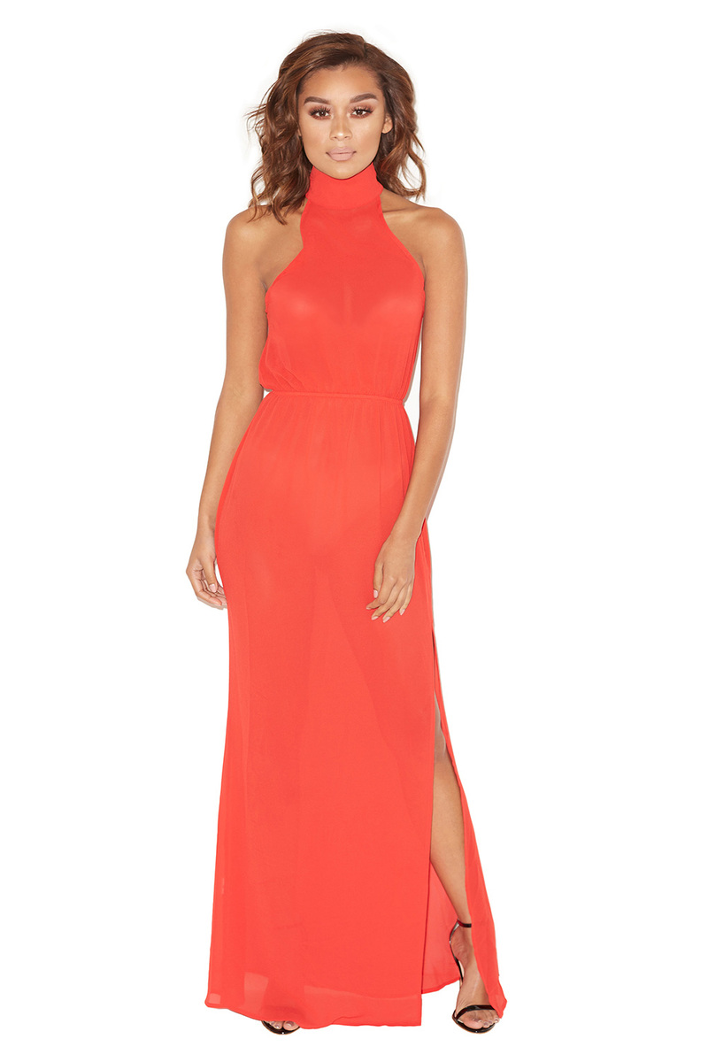 Award Show Red Sheer Chiffon Maxi Dress