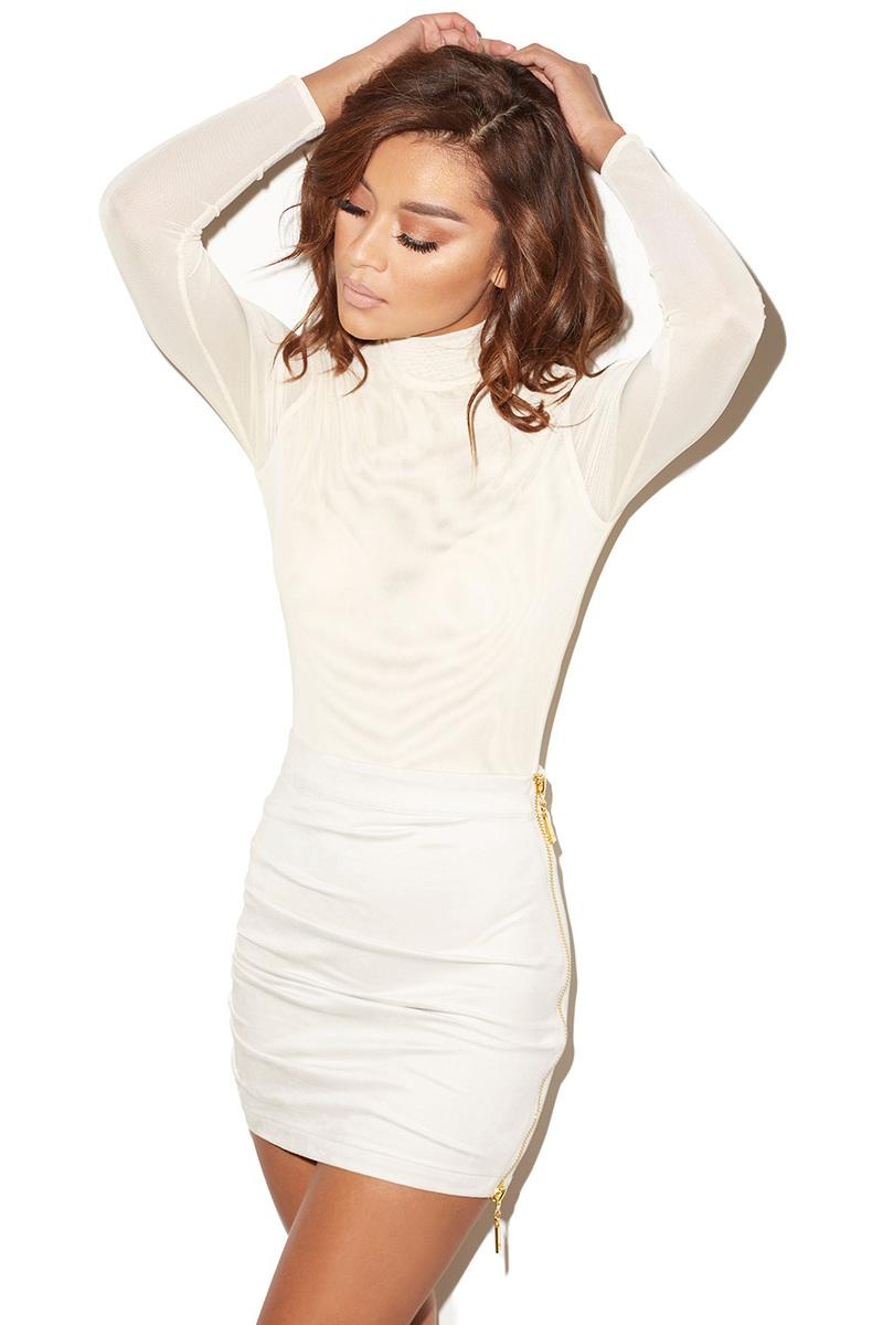 Moulin White Semi-sheer Mesh Bodysuit