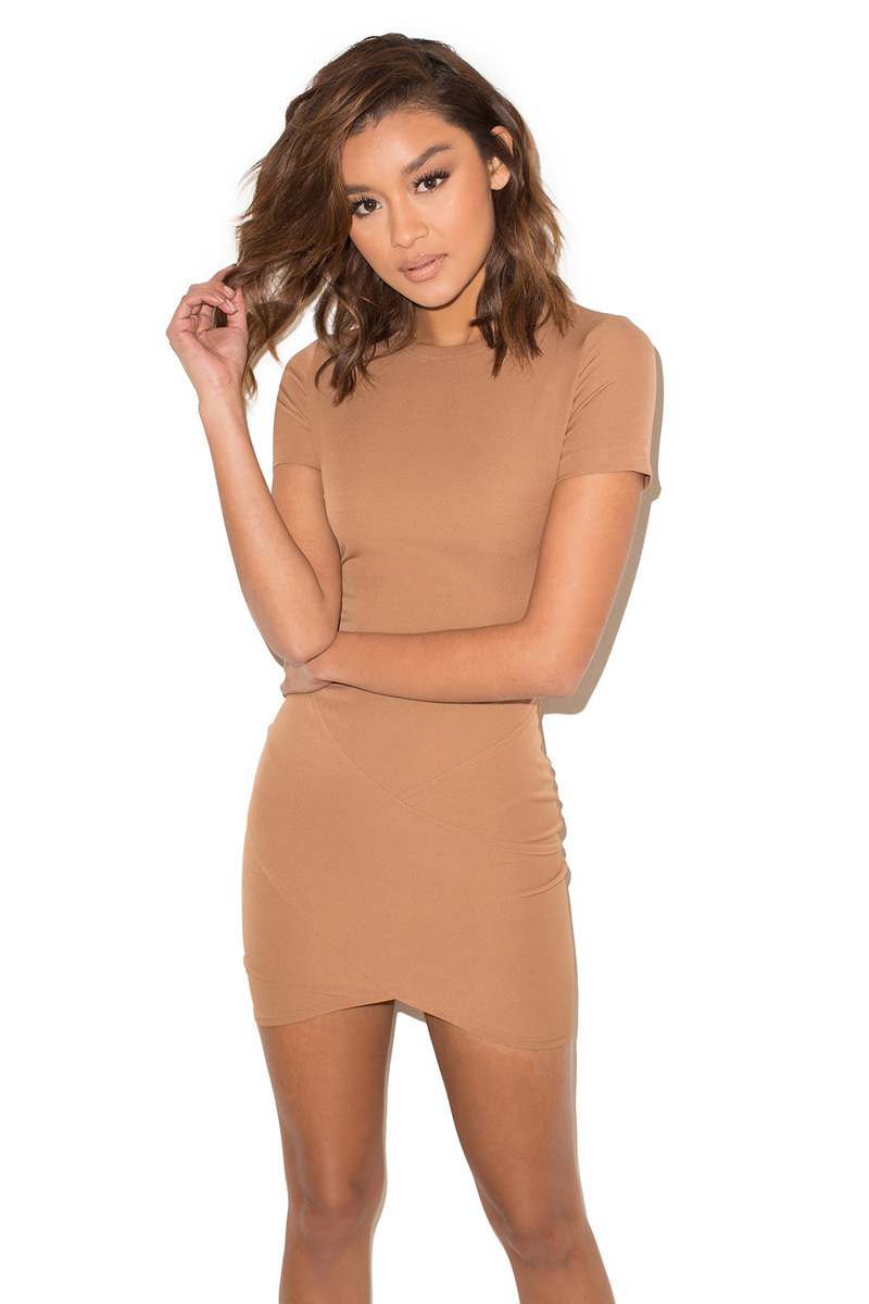 Clique Camel Short Sleeved Mini Dress
