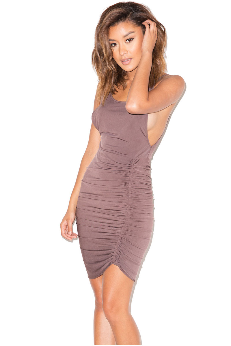 Diavolo Brown Silky Jersey Ruched Vest Dress