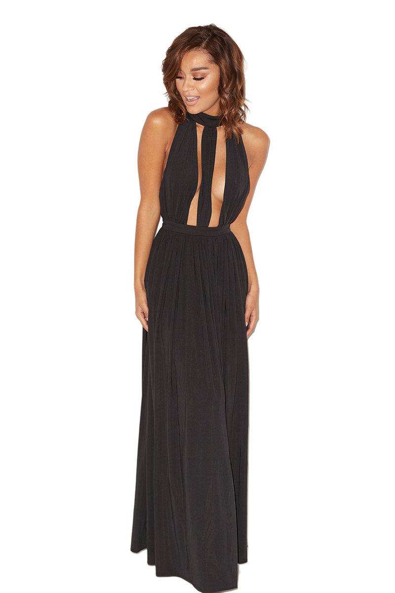 Lioness Black Silky Jersey Maxi Dress
