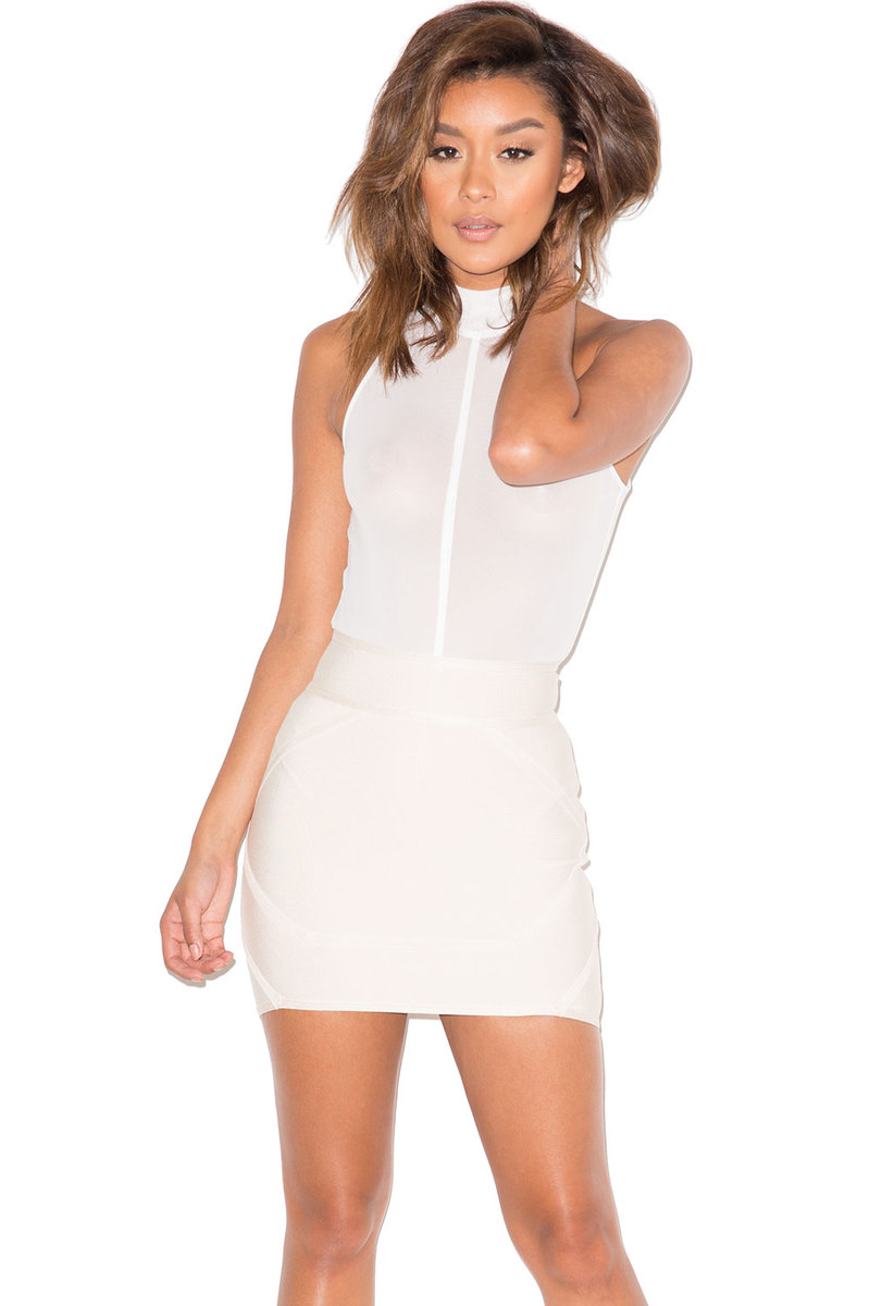 Total Flirt Cream Bandage Mini Skirt