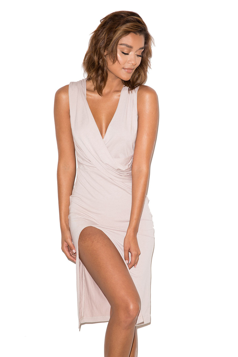 Now or Never Nude Thigh Split Dress