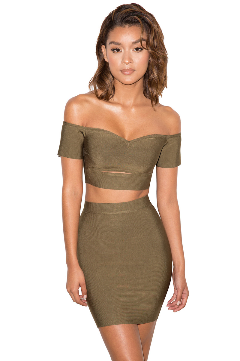 Skin Khaki Bandage Two Piece Set