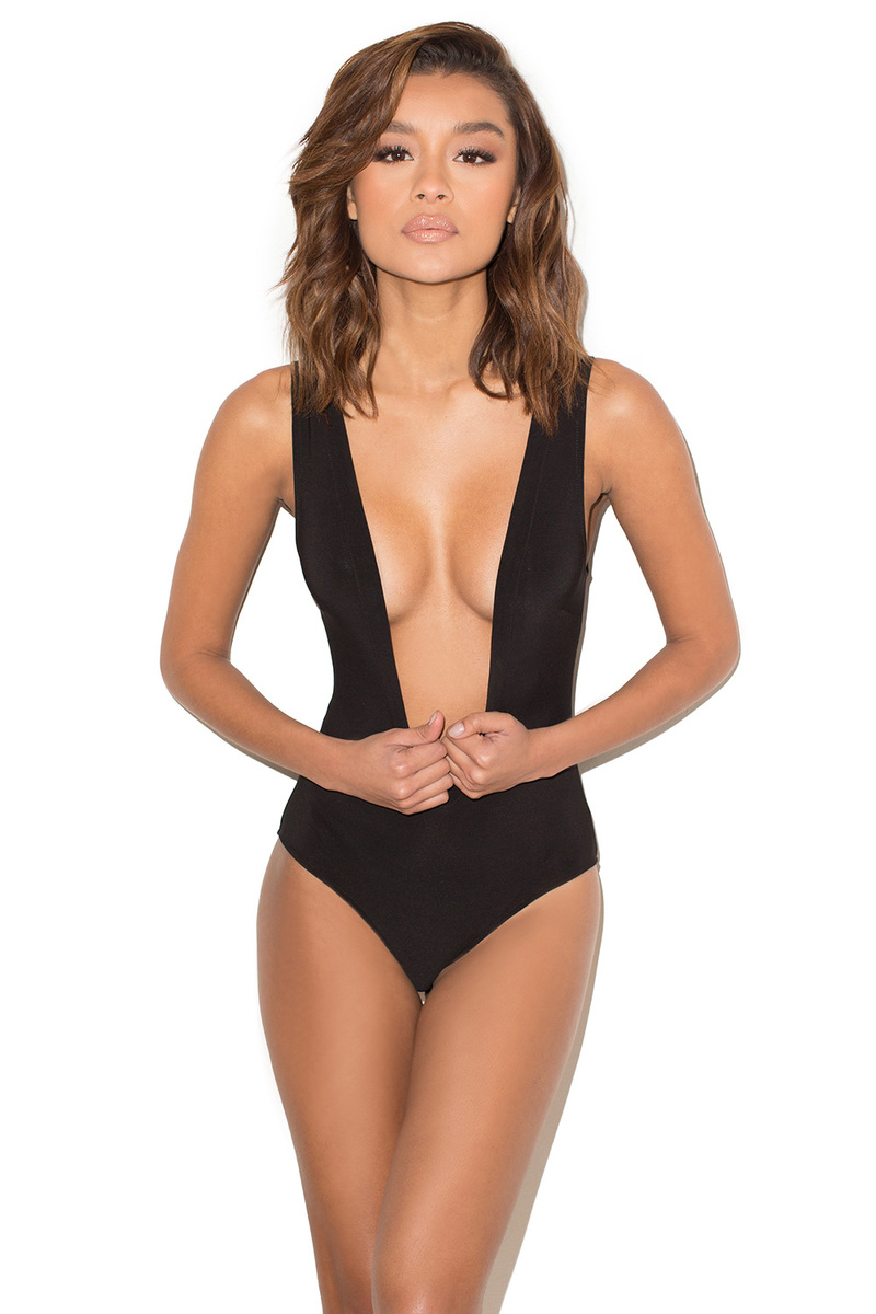 'Slither' Black Stretch Silky Jersey Deep V Bodysuit