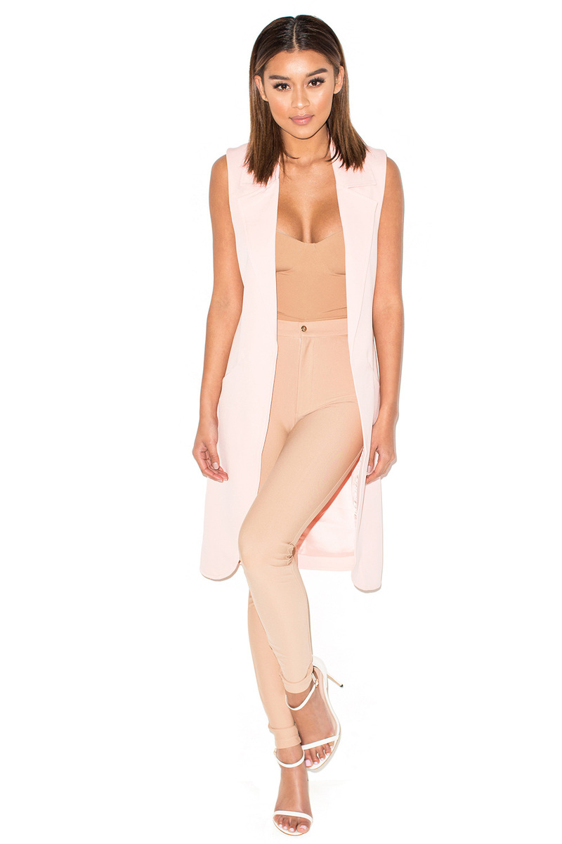 Step Up Pale Pink Sleeveless Coat