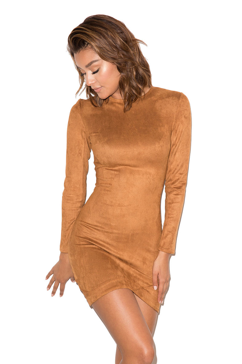 Gunsmoke Tan Suedette Asymmetric Dress