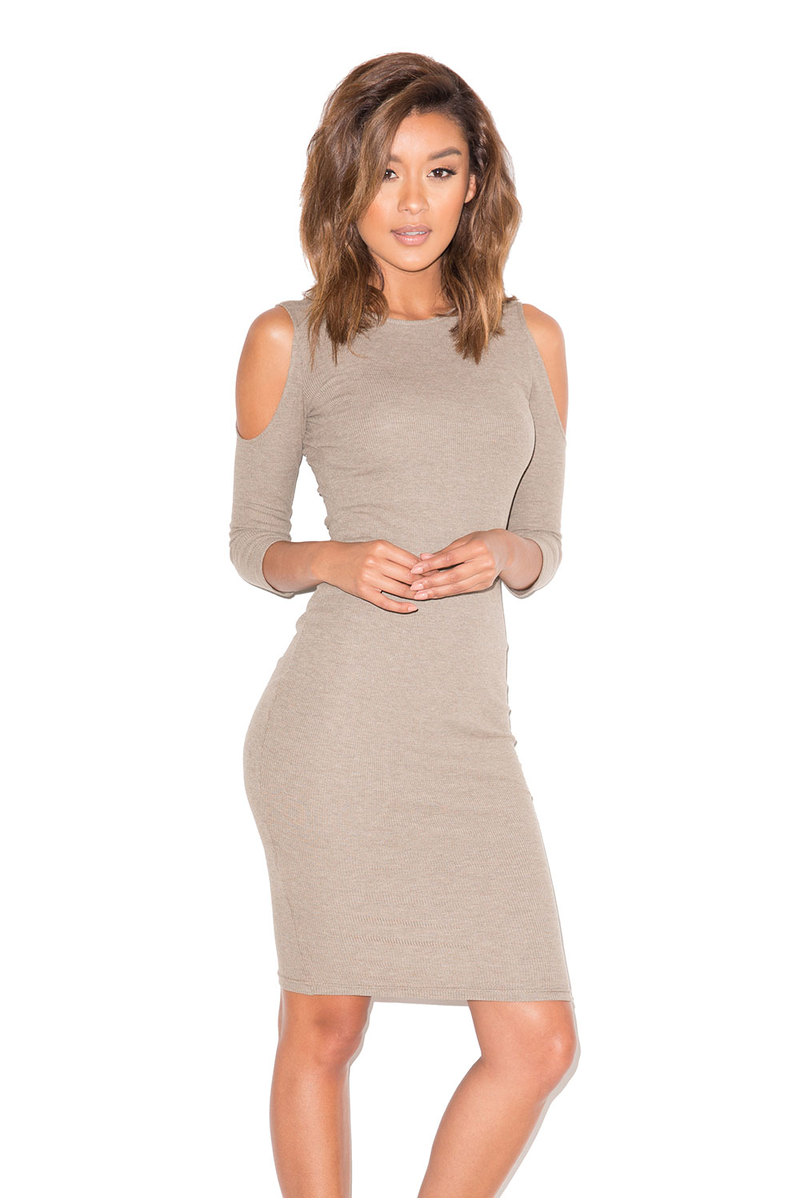 Too Hot Taupe Cold Shoulder Dress