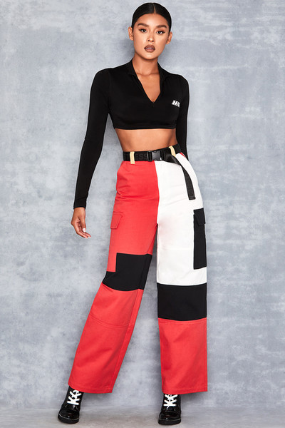 Charm Red Contrast Panel Utility Trousers