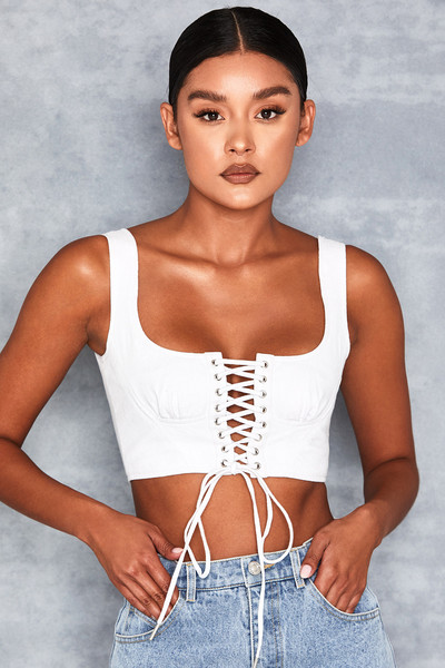Ice White Corseted Lace Up Bralet
