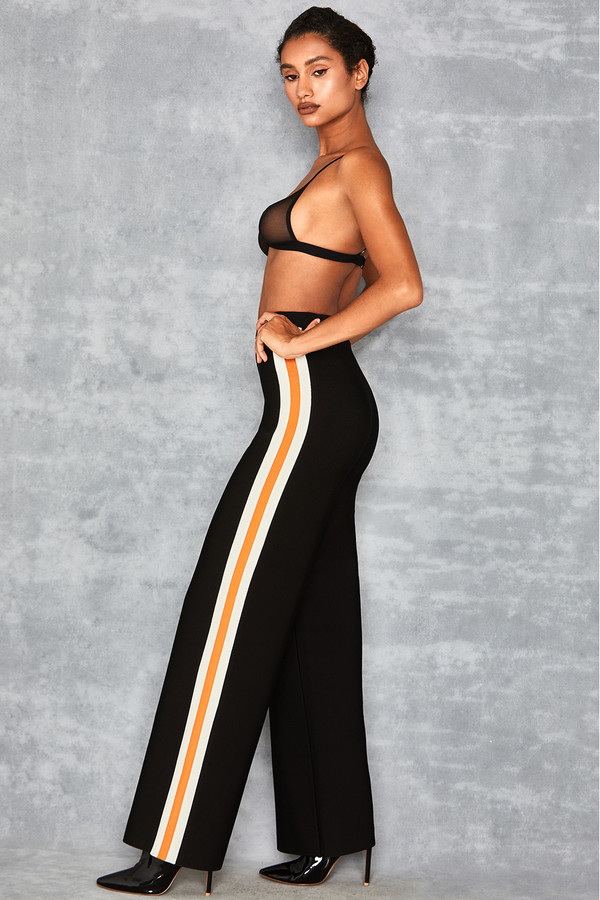 Craze Black Side Stripe Bandage Trousers