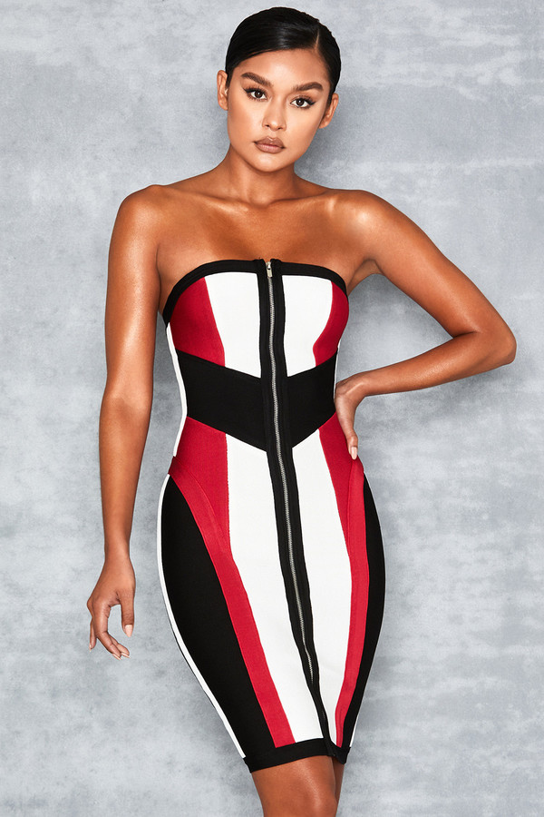 Lexis White Black + Red Bandage Colour Block Dress