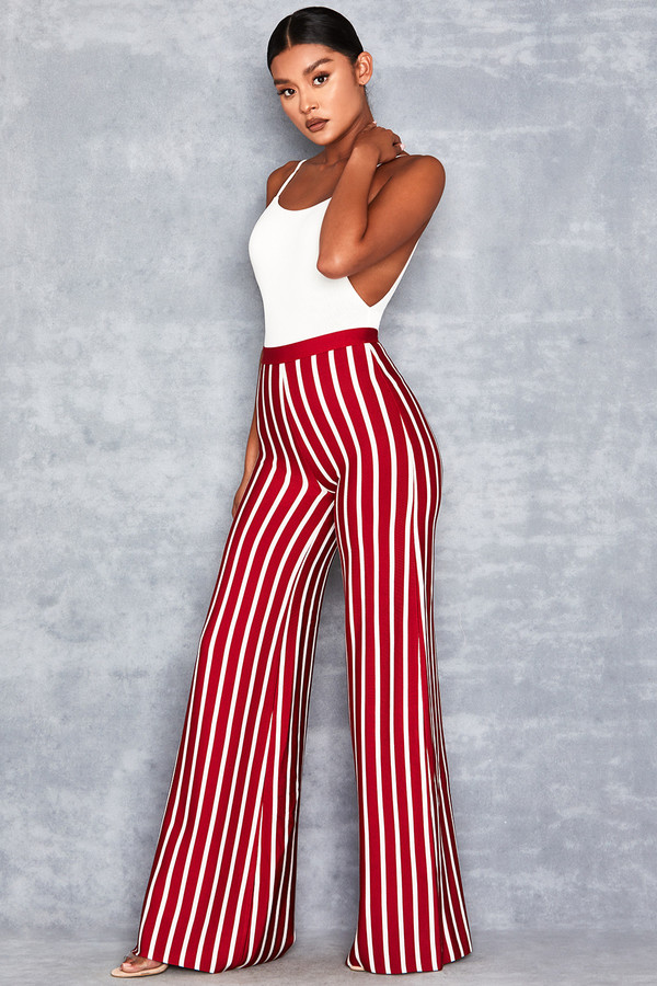 One Love Red & White Bandage Wide Leg Trousers