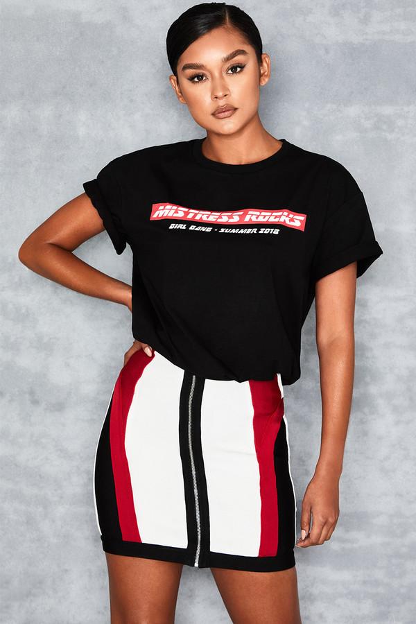 Plugged Red Colour Block Bandage Mini Skirt