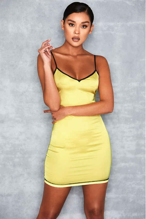 Pursuit Yellow Stretch Satin Cami Dress