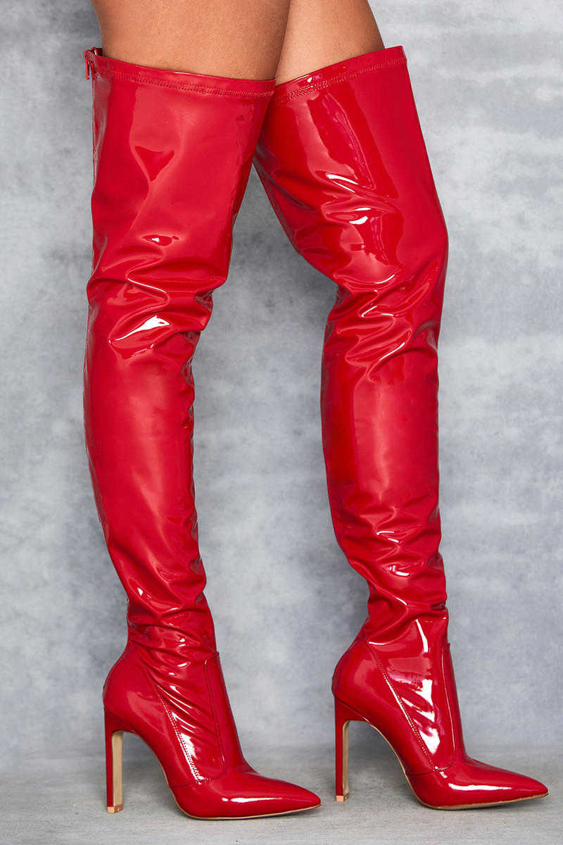 Inamorata Red Vegan Leather Over-the-knee Boots