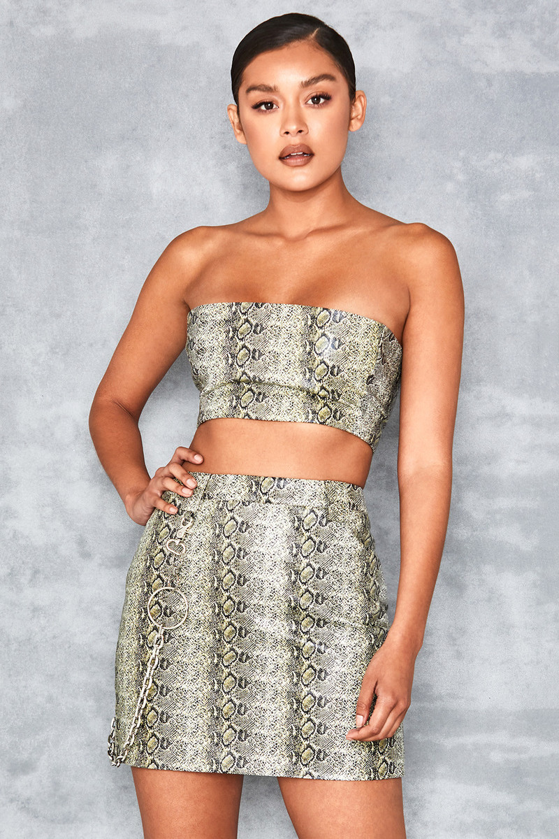 Chance Green Snake Print Mini Chain Skirt