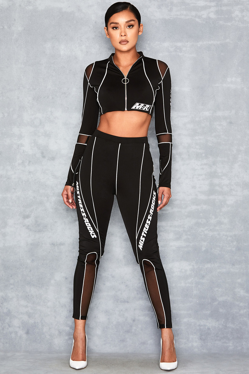 Coast Black Contrast Piping Leggings