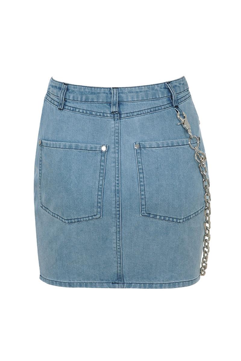 famous skirt in denim