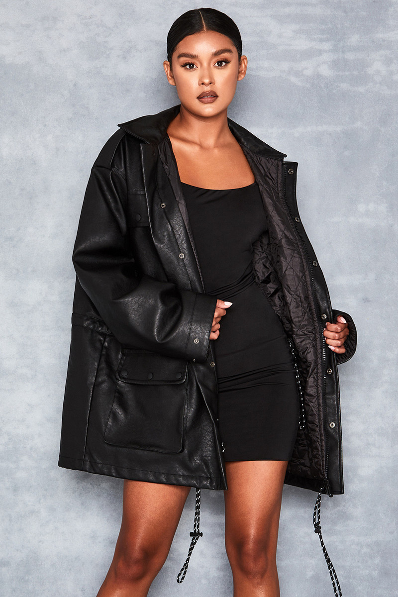 Nightstar Black Oversized Vegan Leather Jacket