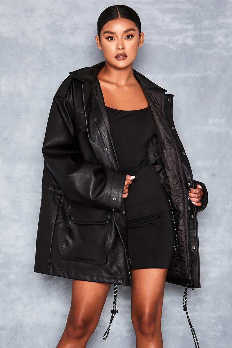 Nightstar Black Oversized Vegan Leather Jacket