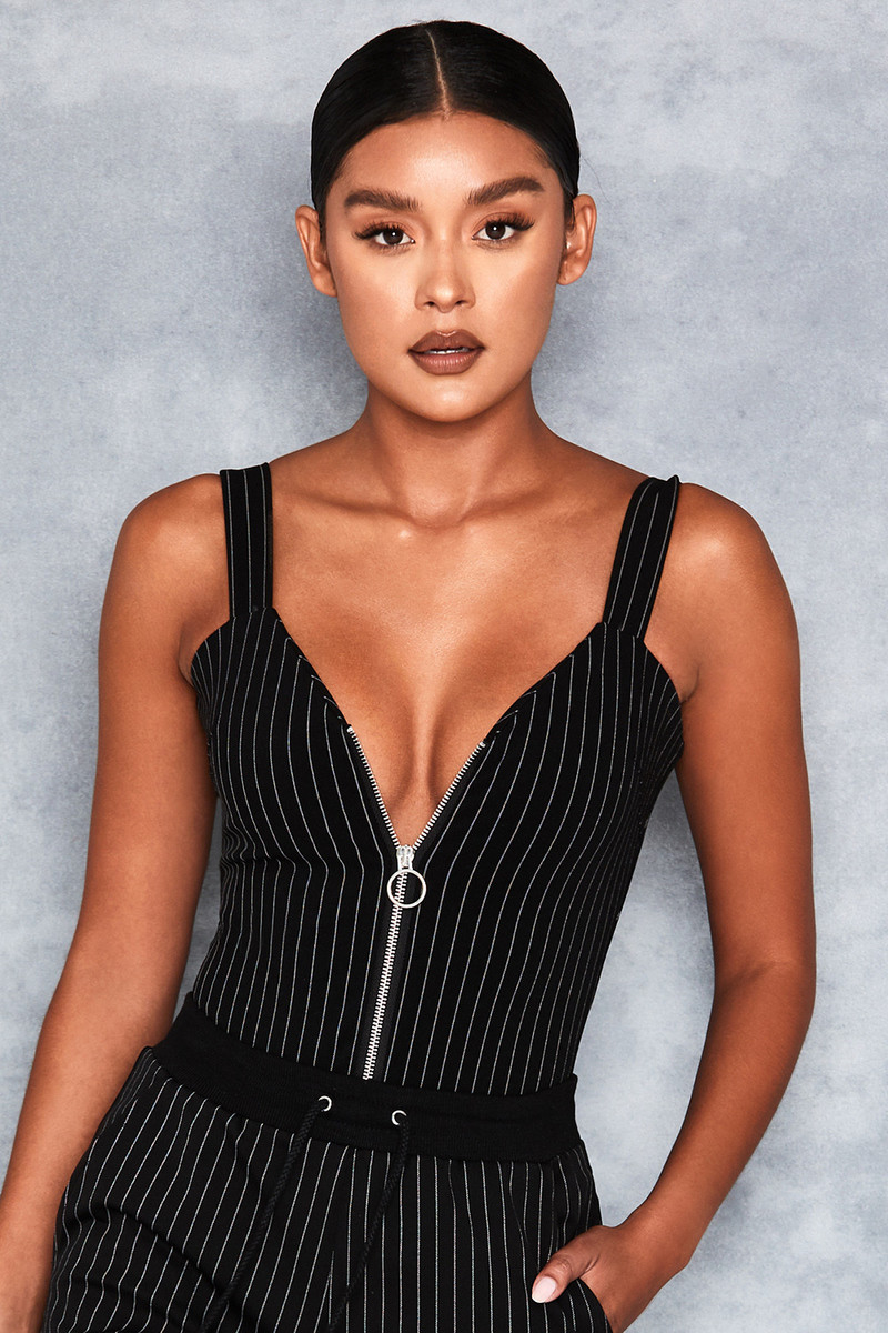 Purpose Black + White Pinstripe Bodysuit