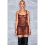 Flow Brown Sheer Mesh Branded Mini Dress
