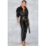 Relent Black Vegan Leather Jumpsuit