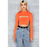 Steady Orange Cropped Top