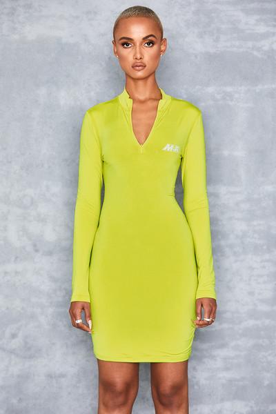 Candy Girl Green Zip Front Mini Dress