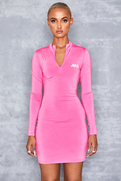 Candy Girl Pink Zip Front Mini Dress