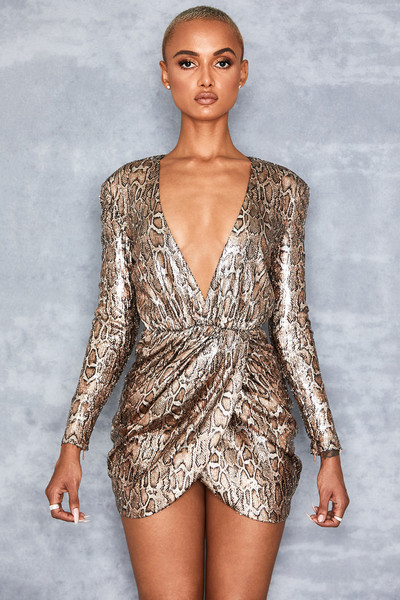 Gravity Snake Print Sequin Draped Dress