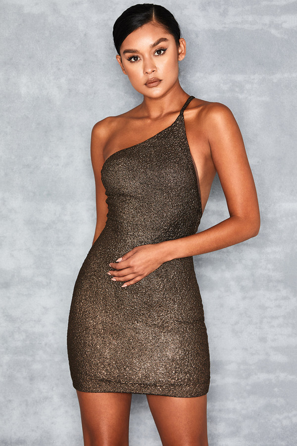 Blessed Copper Metallic Asymmetric Mini Dress
