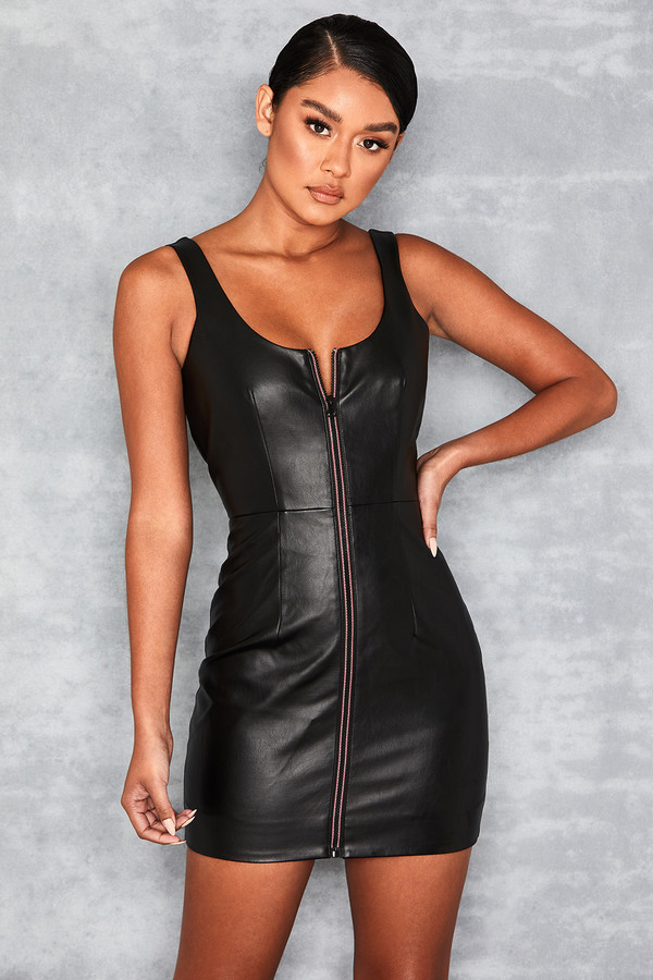 Doting Black Vegan Leather Zip Front Dress