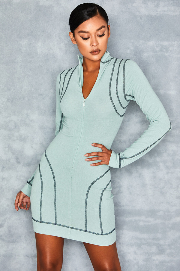 Elate Mint Rib Mini Dress with Topstitching