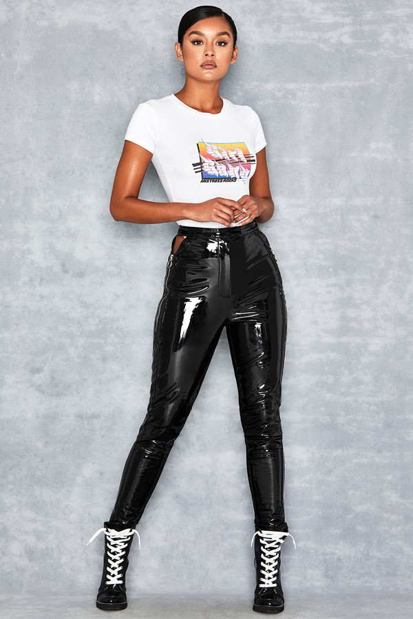 Infiltrate Black Patent Hip Slash Trousers