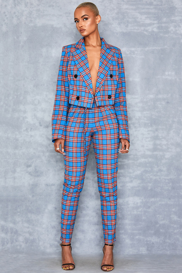 Zinger Blue + Red Tartan Peg Leg Trousers
