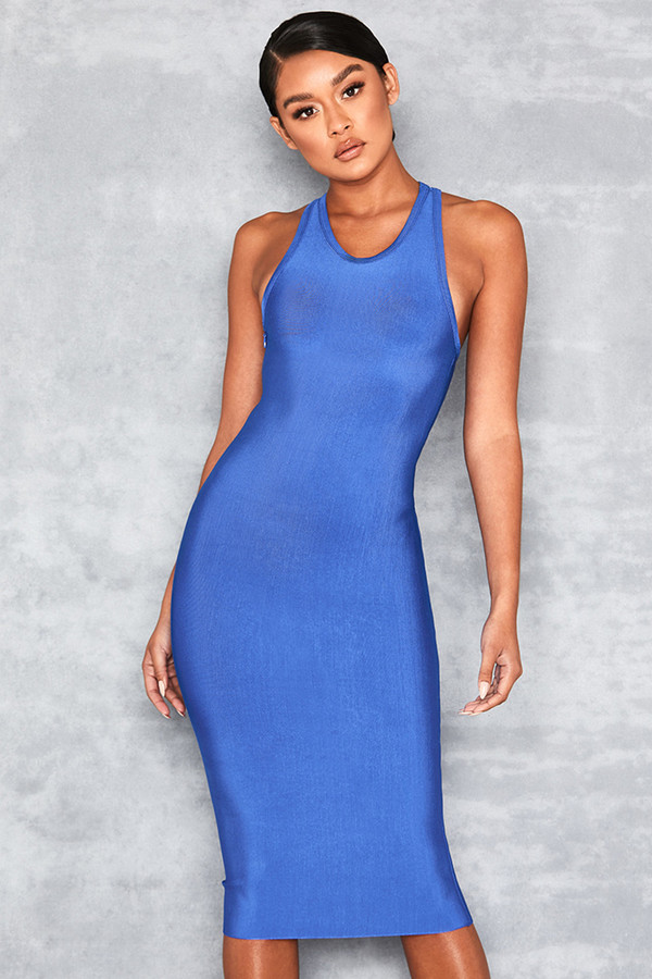Paradise Bright Blue Racer Back Bandage Dress