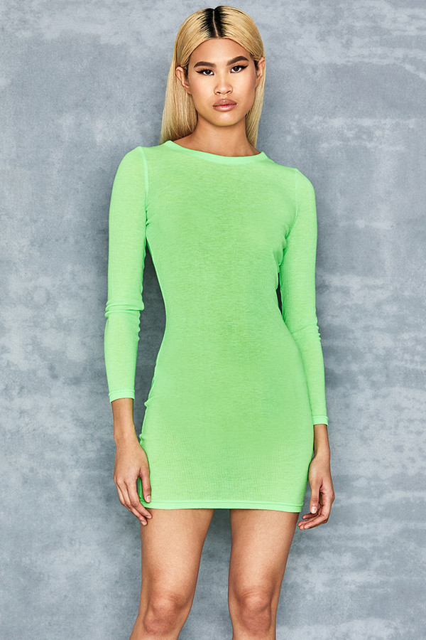Quest Neon Green Rib Jersey Mini Dress