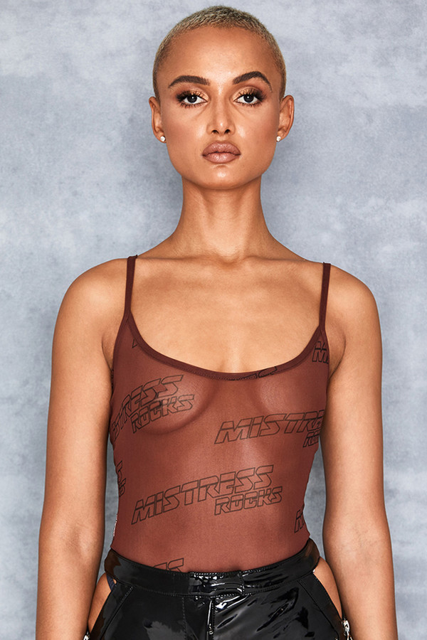 Quiver Brown Mesh Branded Bodysuit