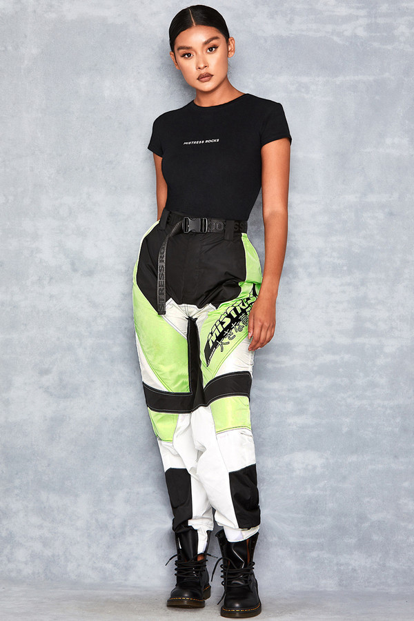 Spirit Lime Green Panelled Biker Joggers