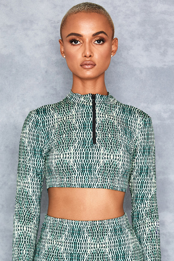 Visitor Green Snake Print Crop Top