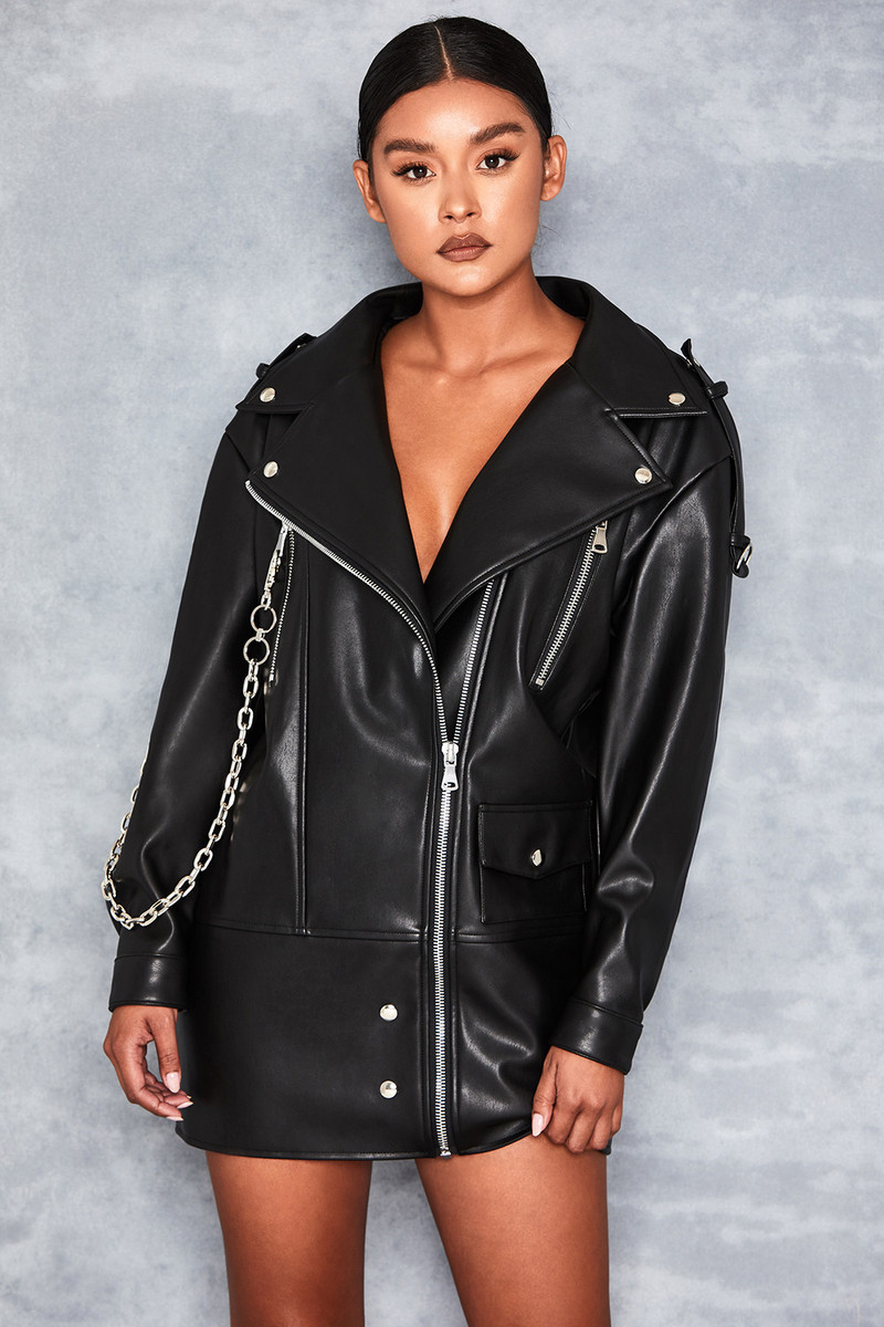 'Acquire' Black Vegan Leather Oversized Jacket wth Chain